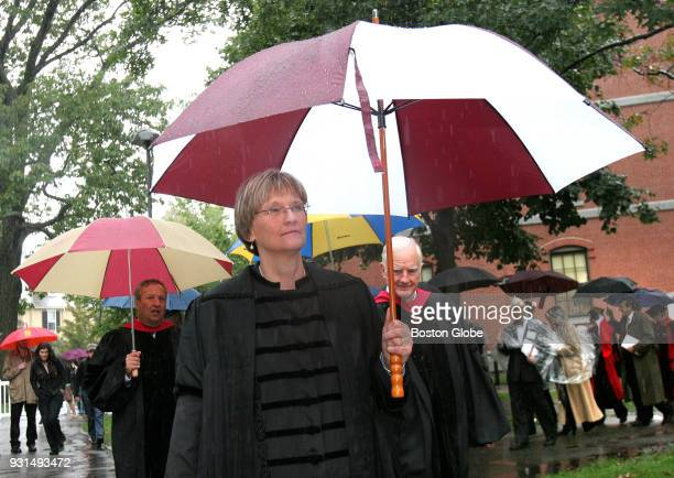 Drew Gilpin Faust followed by former Harvard University presidents Lawrence Summers and Derek Bok begin the process to Tercentenary Theater where she...