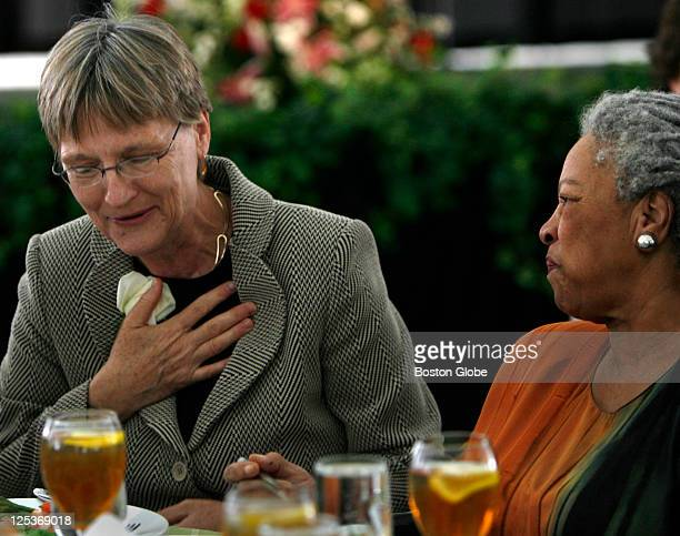 Drew Gilpin Faust Presidentelect at Harvard University left has some time with Toni Morrison right at the Radcliffe Day Annual Luncheon It will be...