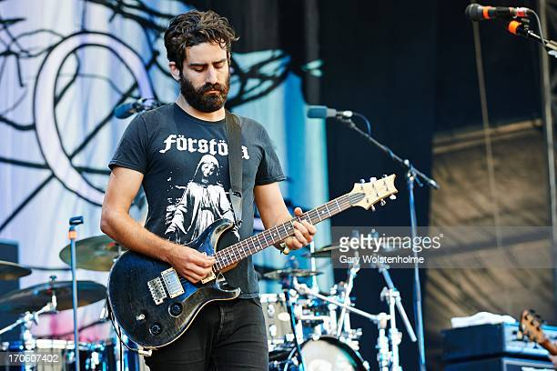 Drew Goddard of Karnivool performs on stage on Day 2 of Download Festival 2013 at Donnington Park on June 15 2013 in Donnington England