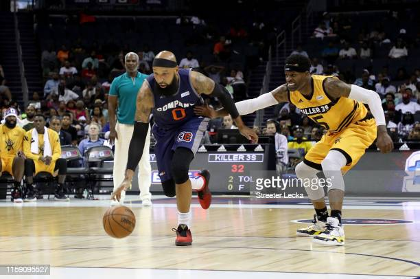 Drew Gooden of 3's Company and Stephen Jackson of Killer 3s compete for possession during week two of the BIG3 three on three basketball league at...