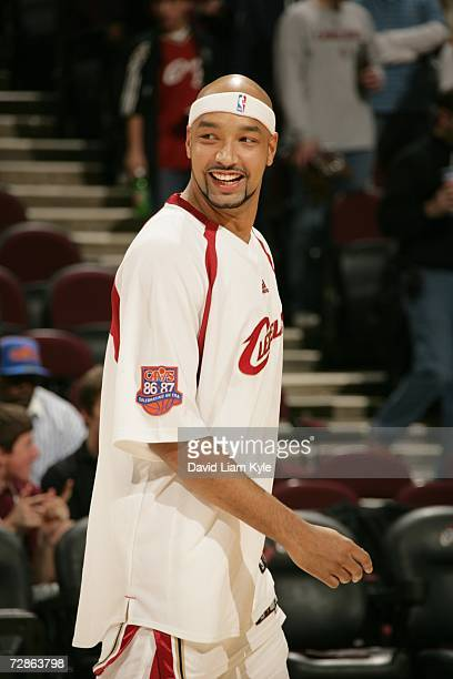 Drew Gooden of the Cleveland Cavaliers smiles during the game against the Charlotte Bobcats at Quicken Loans Arena on December 13 2006 in Cleveland...
