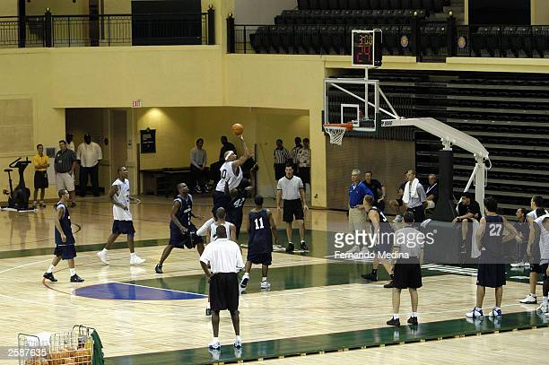 Drew Gooden of the Orlando Magic shoots during a practice camp at the Milk House arena at Disney''s Wide World of Sports Complex on September 29,...