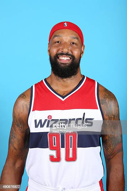 Drew Gooden of the Washington Wizards poses for a photo during 2015 media day at the Verizon Center on May 18 2015 in Washington DC NOTE TO USER User...