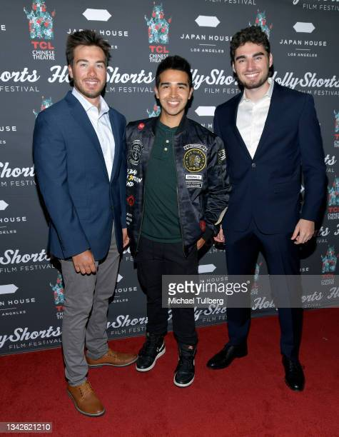Drew Gordella, Cha-tah Ellem and Alex Greenlee attend the 17th annual Hollyshorts Filmmaker red carpet event at the TCL Chinese Theaters at Hollywood...