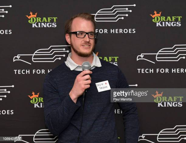 Drew Greene speaks at DraftKings Hosts Veterans Appreciation Event at MJ O'Connors on November 8 2018 in Boston Massachusett