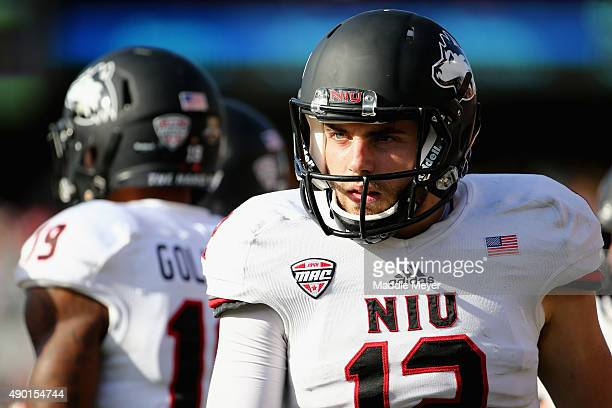 Drew Hare of the Northern Illinois Huskies looks on from the sideline during the fourth quarter against the Boston College Eagles at Alumni Stadium...