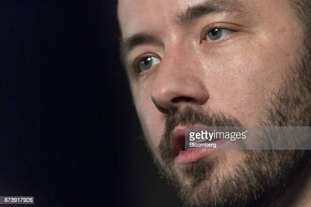 Drew Houston chief executive officer and cofounder of Dropbox Inc speaks during a Bloomberg Technology interview in San Francisco California US on...