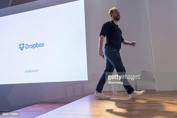 Drew Houston chief executive officer and cofounder of Dropbox Inc walks on stage during an event in San Francisco California US on Monday Jan 30 2017...