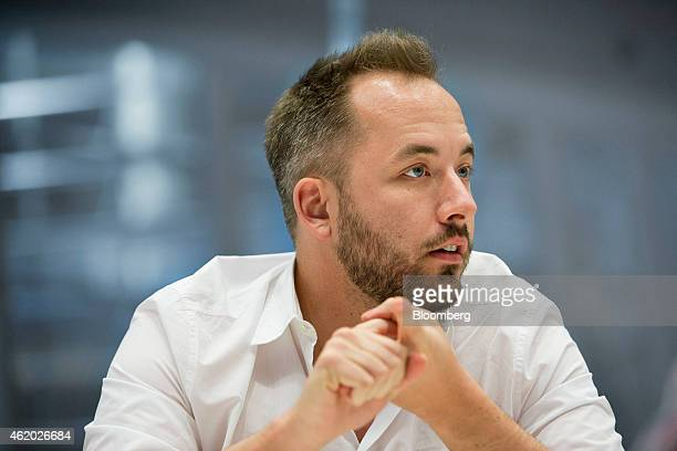 Drew Houston chief executive officer and cofounder of Dropbox Inc speaks during an interview in New York US on Friday Jan 23 2015 Dropbox Inc a...