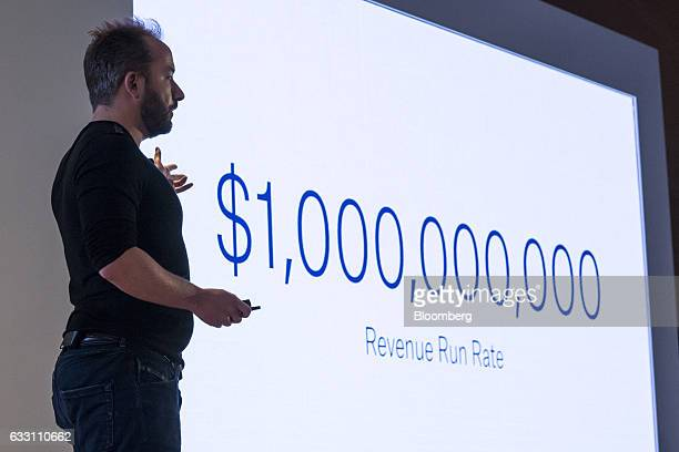 Drew Houston chief executive officer and cofounder of Dropbox Inc speaks during an event in San Francisco California US on Monday Jan 30 2017 Dropbox...