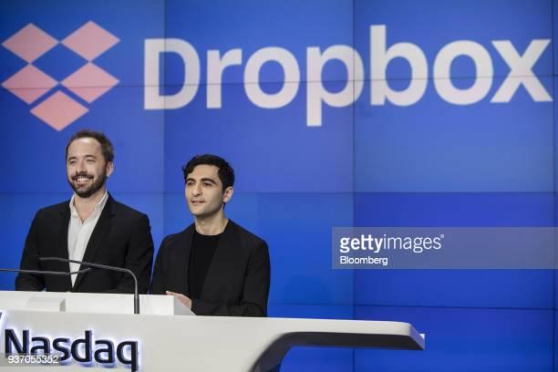 Drew Houston chief executive officer and cofounder of Dropbox Inc left and Arash Ferdowsi cofounder of Dropbox Inc smile during the company's initial...
