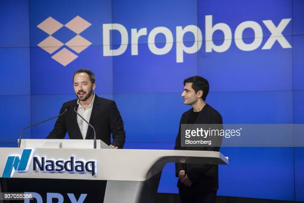 Drew Houston chief executive officer and cofounder of Dropbox Inc left speaks as Arash Ferdowsi cofounder of Dropbox Inc listens during the company's...