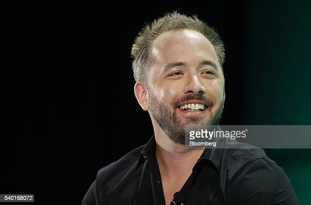 Drew Houston cofounder and chief executive officer of Dropbox Inc speaks during the Bloomberg Technology Conference in San Francisco California US on...