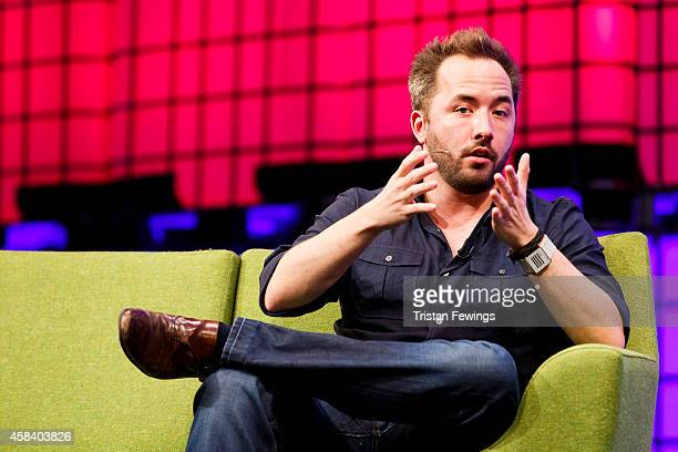 Drew Houston Founder and CEO of Dropbox in converstaion with Laurie Segall from CNN on the centre stage at the 2014 Web Summit on November 4 2014 in...