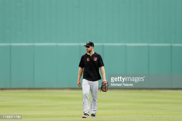 Drew Jackson of the Baltimore Orioles looks on prior to the game against the Boston Red Sox in the Grapefruit League spring training game at JetBlue...