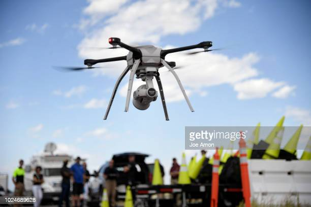 Drew Jurkofsky a police officer in Fort Collins that also does flight work lifts off during a demonstration of the Aeryon SkyRanger R60 for Colorado...