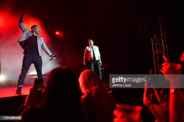 Drew Lachey and Nick Lachey of 98 Degrees perform on stage at Seminole Casino Coconut Creek on February 28, 2020 in Coconut Creek, Florida.