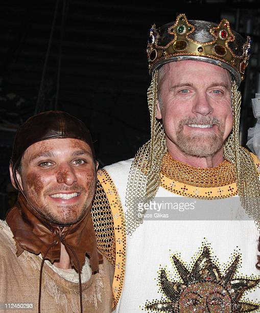 Drew Lachey and Stephen Collins pose backstage after their Opening Night debut in Monty Python's 'Spamalot' on Broadway at the Shubert Theatre on...