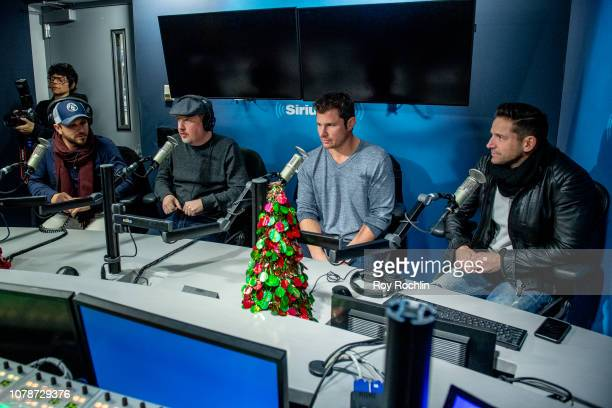 Drew Lachey Justin Jeffre Nick Lachey and Jeff Timmons of 98 Degrees visit SiriusXM Studios on December 07 2018 in New York City