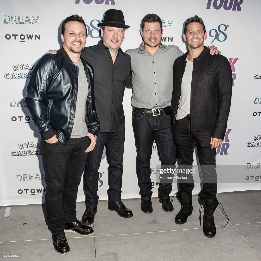 Drew Lachey, Justin Jeffre, Nick Lachey and Jeff Timmons of 98 Degrees arrive at Faculty on April 26, 2016 in Los Angeles, California.