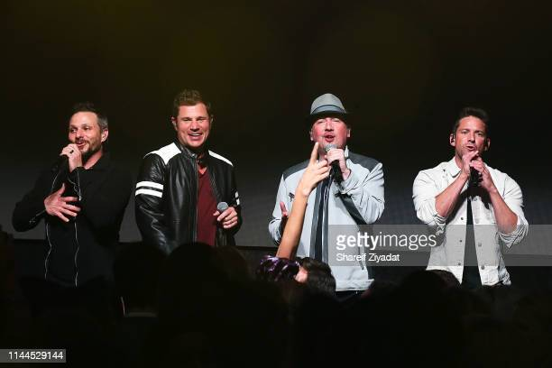 Drew Lachey Nick Lachey Justin Jeffre and Jeff Timmons of the group 98 Degrees perform during Under The Stars 2019 at Riverside Yacht Club on May 17...