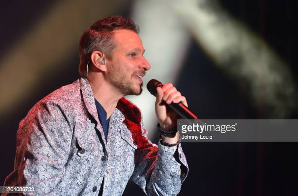 Drew Lachey of 98 Degrees performs on stage at Seminole Casino Coconut Creek on February 28, 2020 in Coconut Creek, Florida.