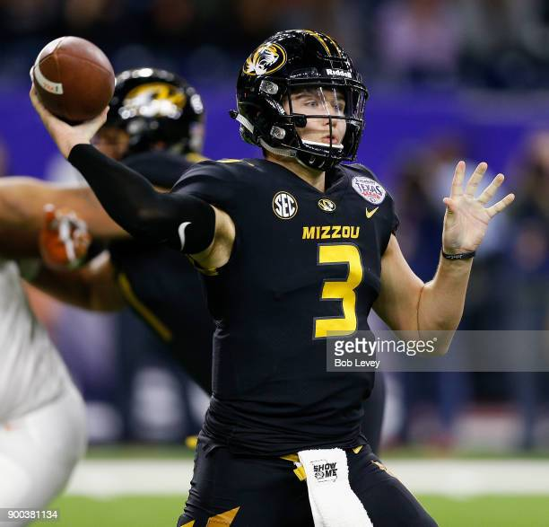 Drew Lock of the Missouri Tigers against the Texas Longhorns during the Academy Sports Outdoors Bowl at NRG Stadium on December 27 2017 in Houston...