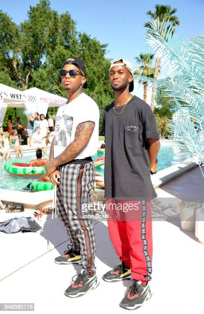 Drew Love and Dante Jones attend Rihanna and PUMA Gear up for Summer '18 at Coachella on April 14 2018 in Thermal California