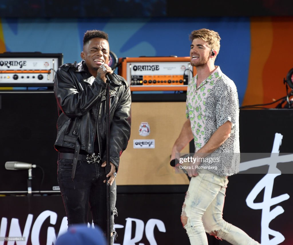 Drew Love joins Andrew Taggart and The Chainsmokers during their performance live on ABC's 'Good Morning America' at SummerStage at Rumsey Playfield, Central Park on August 10, 2018 in New York City.
