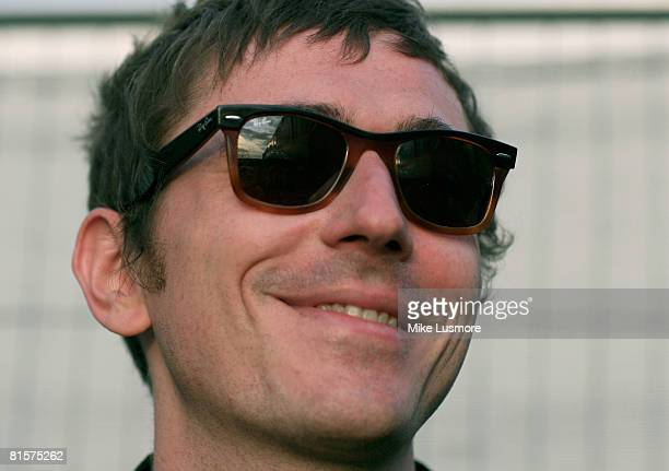 Drew McConnel from Babyshambles poses for a photograph backstage in the RayBan tent at the Isle of Wight Festival on June 14 2008 in the Isle of...
