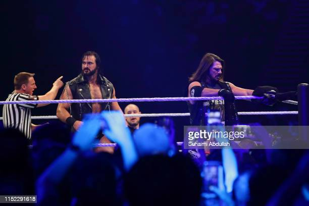 Drew McIntyre and AJ Styles in action during the WWE Live Singapore at the Singapore Indoor Stadium on June 27, 2019 in Singapore.