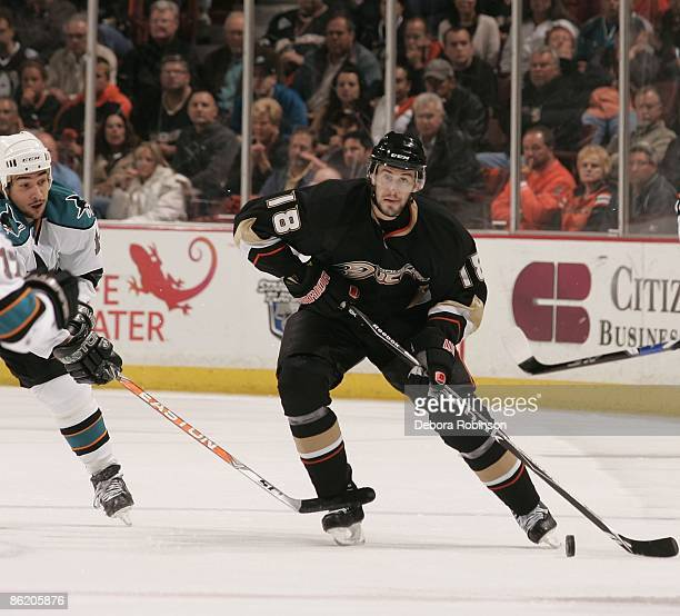 Drew Miller of the Anaheim Ducks handles the puck down ice against the San Jose Sharks during Game Four of the Western Conference Quarterfinal Round...