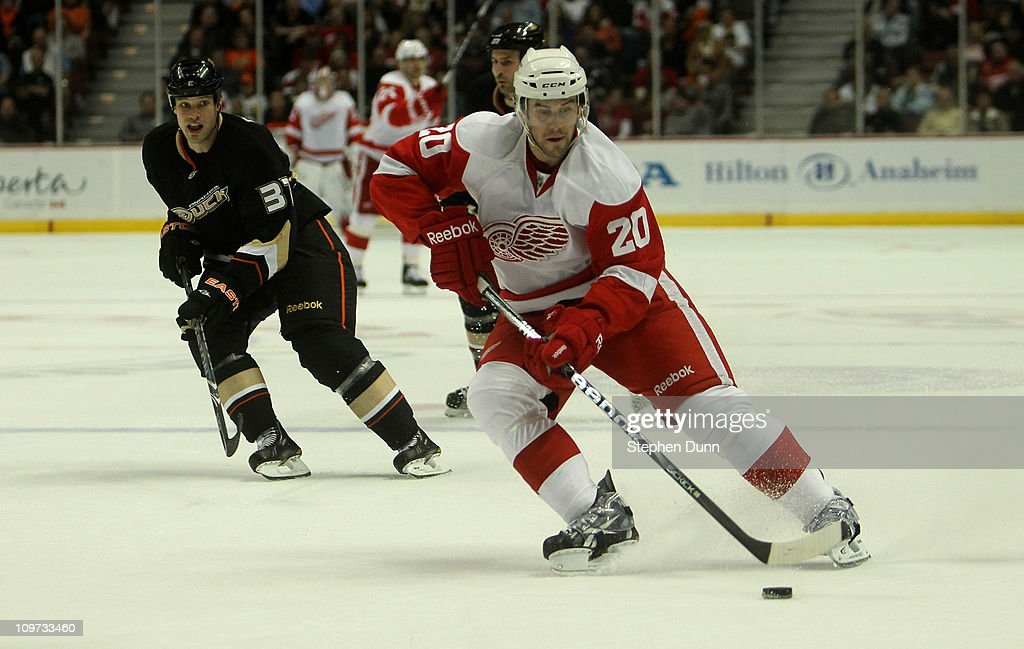 Drew Miller #20 of the Detroit Red Wings carries the puck against the Anaheim Ducks on March 2, 2011 at the Honda Center in Anaheim, California. The Ducks won 2-1 in overtime.