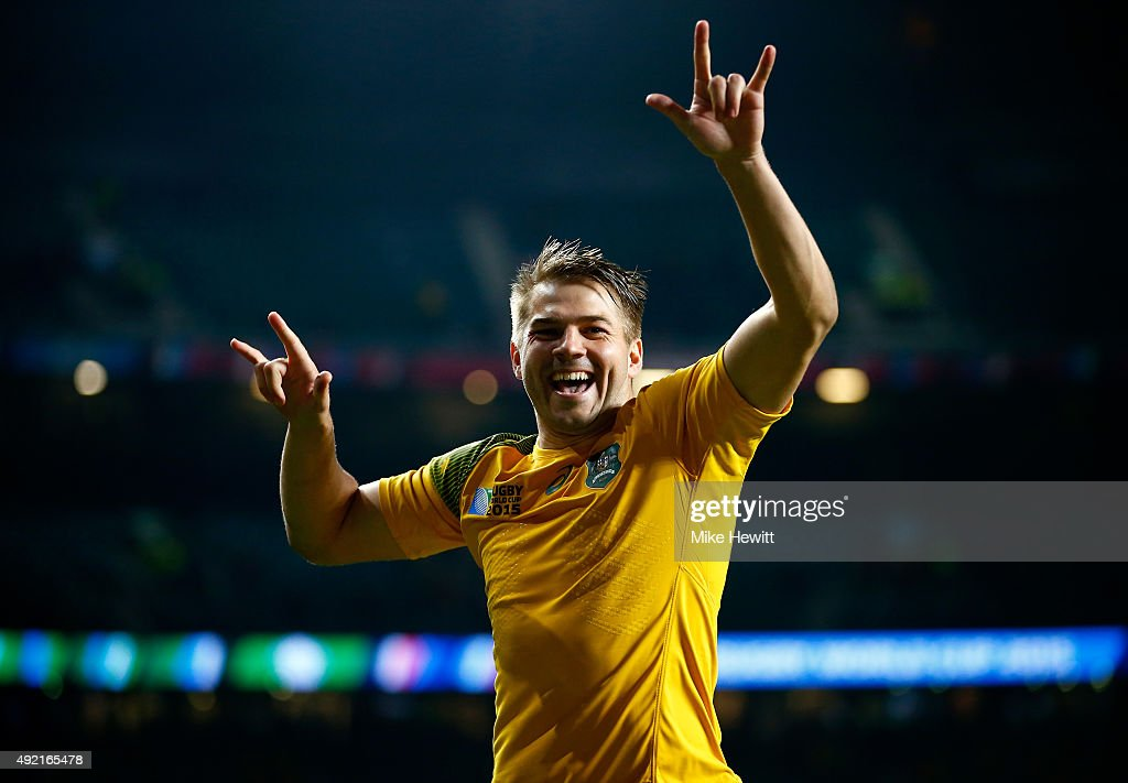 Drew Mitchell of Australia celebrates victory after the 2015 Rugby World Cup Pool A match between Australia and Wales at Twickenham Stadium on October 10, 2015 in London, United Kingdom.