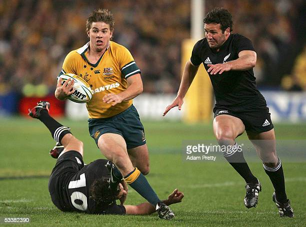 Drew Mitchell of the Walabies goes over for a try during the Tri Nations series Bledisloe Cup match between the Australian Wallabies and the New...