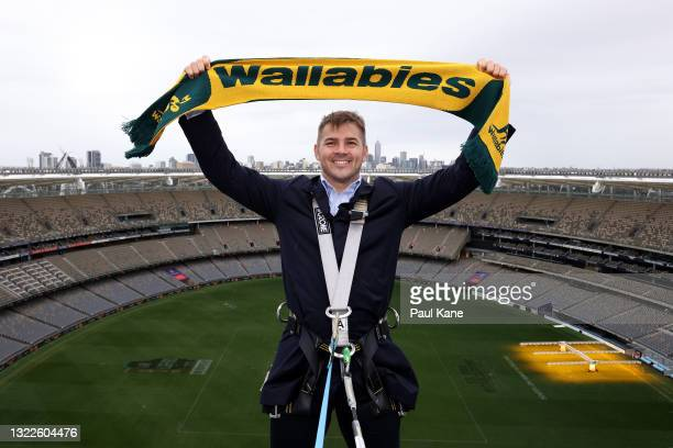 Drew Mitchell poses on the rooftop of Optus Stadium during a media opportunity announcing the on-sale of Wallabies tickets for their August Bledisloe...