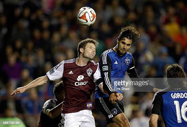 Drew Moor of Colorado Rapids and Chris Wondolowski of San Jose Earthquakes go for the ball at Buck Shaw Stadium on May 7 2014 in Santa Clara...