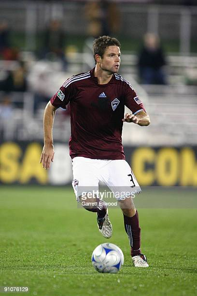 Drew Moor of the Colorado Rapids controls the ball against the San Jose Earthquakes on September 23, 2009 at Dick's Sporting Goods Park in Commerce...