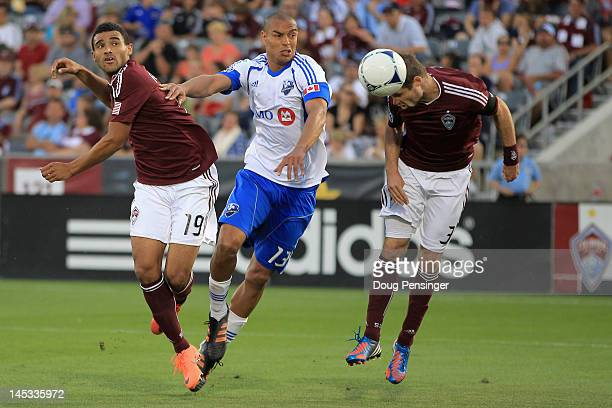 Drew Moor of the Colorado Rapids scores on a head ball in the 39th minute against the Montreal Impact at Dick's Sporting Goods Park on May 26, 2012...