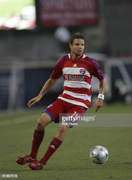 Drew Moor of the FC Dallas dribbles the ball down field during the match against the Charleston Battery July 8 2008 at Pizza Hut Park in Frisco Texas