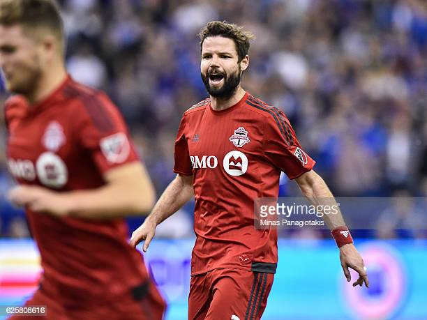 Drew Moor of the Toronto FC calls out instructions during leg one of the MLS Eastern Conference finals against the Montreal Impact at Olympic Stadium...