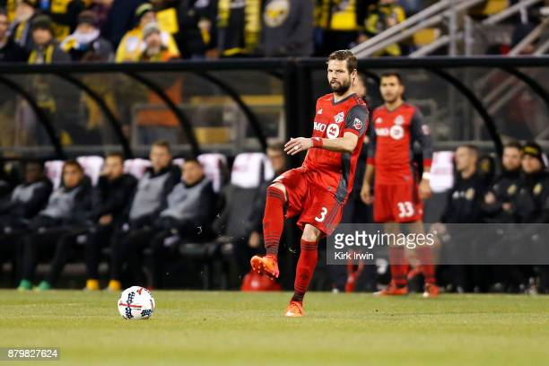 Drew Moor of the Toronto FC passes the ball to a teammate during the match against the Columbus Crew SC at MAPFRE Stadium on November 21 2017 in...