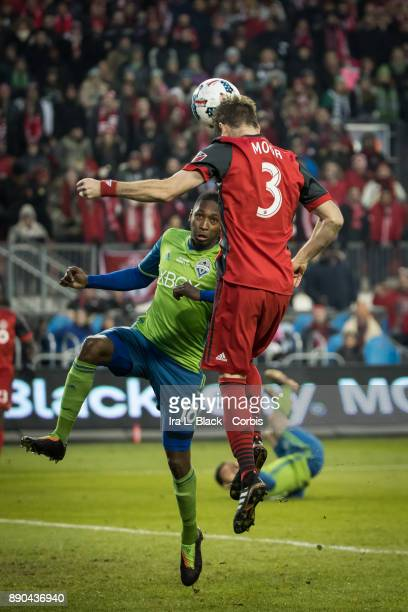 Drew Moor of Toronto FC heads the ball toward the goal during the 2017 Audi MLS Championship Cup match between Toronto FC and Seattle Sounders FC at...