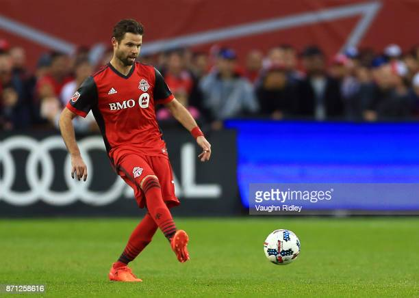 Drew Moor of Toronto FC passes the ball during the first half of the MLS Eastern Conference Semifinal Leg 2 game against New York Red Bulls at BMO...
