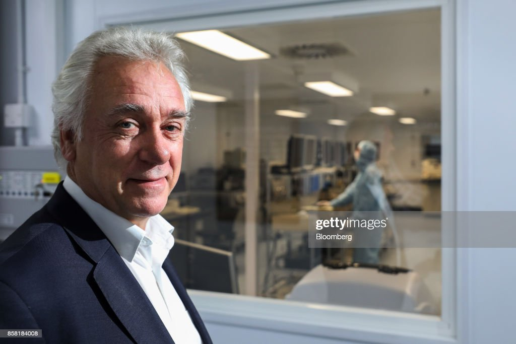 Drew Nelson, chief executive officer of IQE Plc, poses for a photograph at their headquarters in Cardiff, U.K., on Thursday, Sept. 28, 2017. IQE makes wafers that are needed for Vertical Cavity Surface Emitting Lasers (VCSELs), used for 3D sensors and widely thought to be included inthe new iPhone. Photographer: Luke MacGregor/Bloomberg via Getty Images