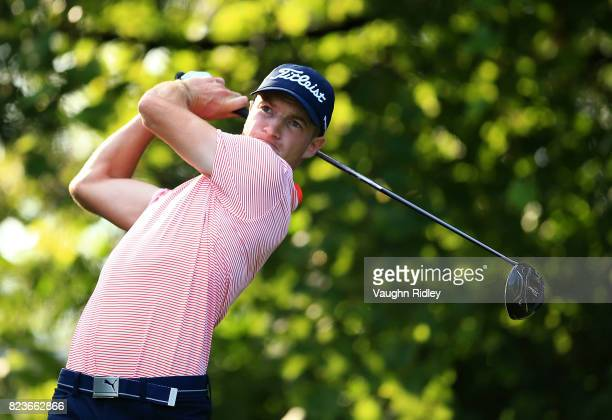 Drew Nesbitt of Canada plays his shot from the 16th tee during round one of the RBC Canadian Open at Glen Abbey Golf Club on July 27 2017 in Oakville...