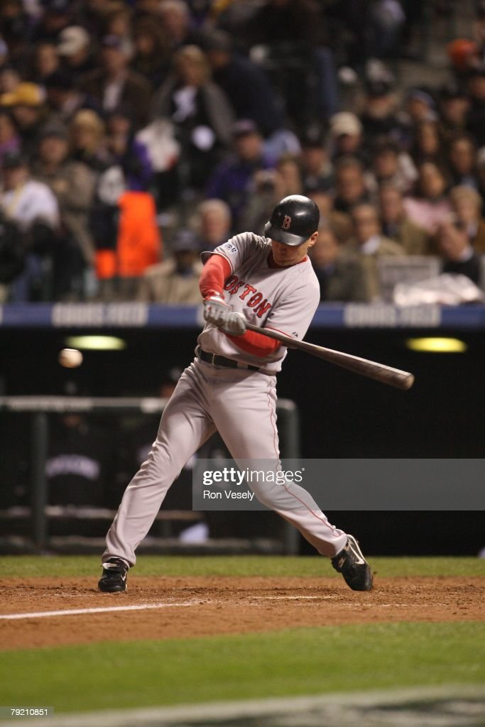 J.D. Drew of the Boston Red Sox bats during Game Three of the World Series against the Colorado Rockies at Coors Field in Denver, Colorado on October 27, 2007. The Red Sox defeated the Rockies 10-5.