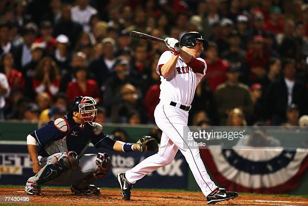 D Drew of the Boston Red Sox hits grand slam home run in the first inning against the Cleveland Indians during Game Six of the American League...