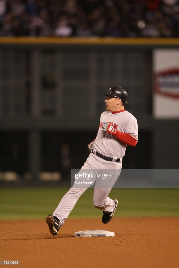 J.D. Drew of the Boston Red Sox runs during Game Three of the World Series against the Colorado Rockies at Coors Field in Denver, Colorado on October 27, 2007. The Red Sox defeated the Rockies 10-5.