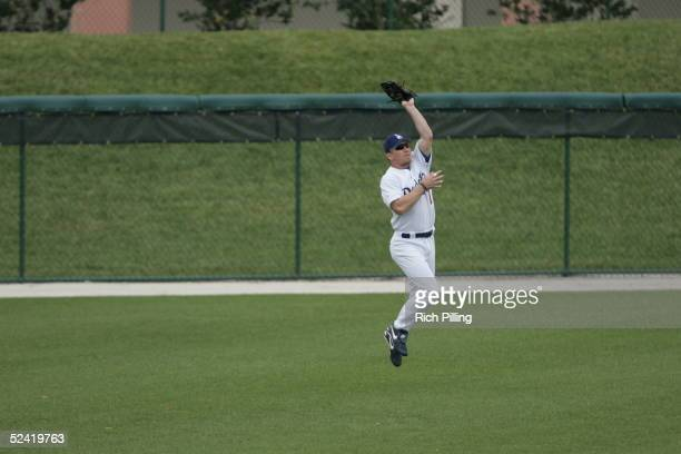 Drew of the Los Angeles Dodgers fields during the Spring Training game against the Florida Marlins at Holman Stadium on March 8,2005 in Vero Beach,...